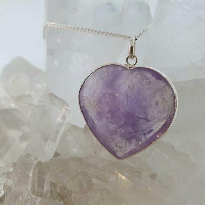 Beautiful Amethyst heart pendant set in sterling silver