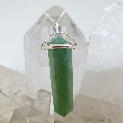 Green Aventurine double terminator pendant , sterling silver
