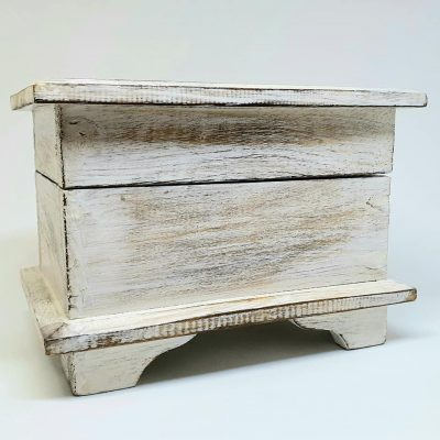 White wooden Box with antique feature look