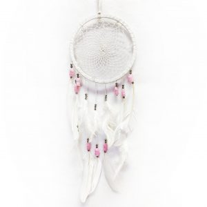 White dream catcher with pink and silver beads