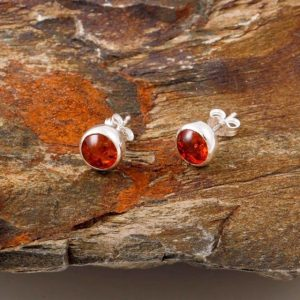 Amber stud earrings, blue turtles