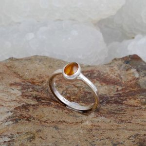 Amber ring blue turtles sterling silver