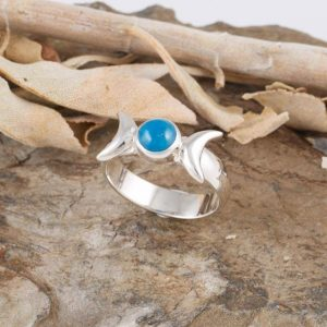 Blue Apatite with Goddess symbol ring, blue turtles
