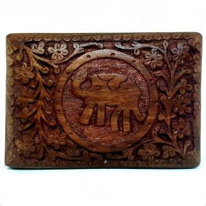 Wooden Box with Elephant Carving