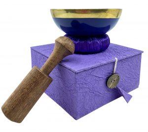 Purple singing bowl gift set