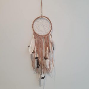 Bamboo ring dream catcher with suede tassels