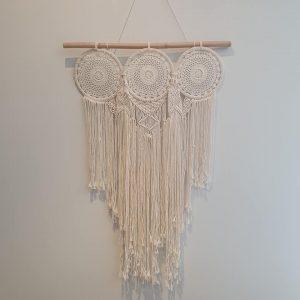 white three ring crochet dream catcher, boho