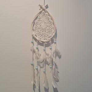 White wash dream catcher with aqua beads