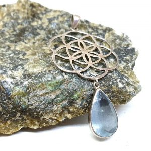 Aquamarine pendant, seed of life