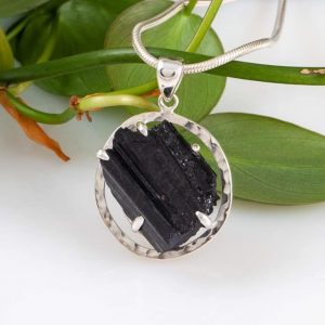black tourmaline pendant, natural, blue turtles