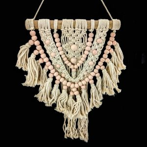 small natural macrame hanger with ink beads