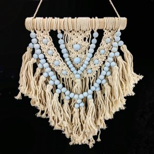 macrame hanger with blue beads