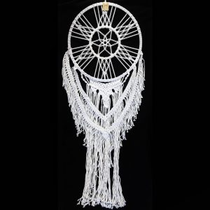 white large macrame with flower centre