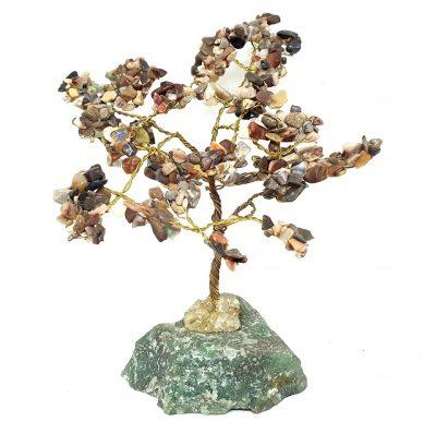 green aventurine base tree with mixed crystals chakra