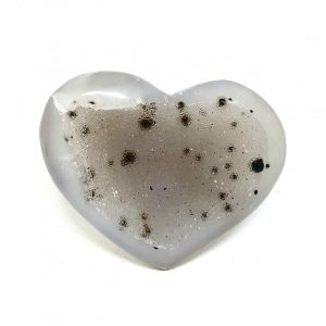 Druzy agate crystal heart cluster natural