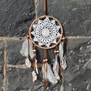 Dream catcher crochet with swan and crow feathers and shells