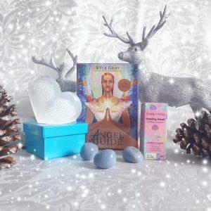 Christmas gift box, kyle gray, angelite, selenite, lively living oils, healing heart, angel wings