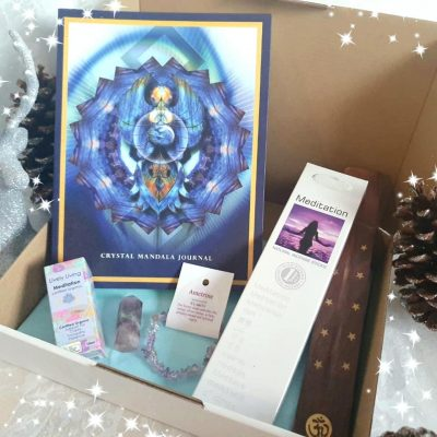 Tranquil Thoughts, Alana Fairchild Journal, Crystal Mandala, Lively Living Meditation Oil, Fluorite generator, Christmas gift boxes