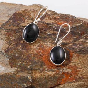 Black Tourmaline oval dangle earrings